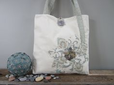 Ivory tote bag Beach bag Blue tote purse by BerkshireCollections, $39.00