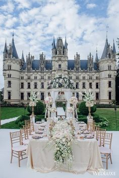 Talk about a fairytale wedding! ⠀ Double tap if you love.⠀ TAG someone who'd love this!⠀ // photo by ⠀ // wedding planner: // decor & floral: Chateau de Challain ⠀ // linens: // regram ⠀ . Wedding Sets, Wedding Themes, Summer Wedding, Dream Wedding, Fantasy Wedding, Wedding Favors, Paris Wedding, Wedding Cake, Star Wedding