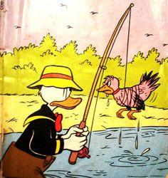 Pato Donald vai pescar, ilustração de Walt Disney.