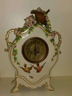 Antique French Barbotine Mantel Clock