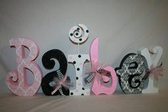 Baby+girl+wooden+letters+pink+and+black+by+PaintedPoshDesigns,+$78.95