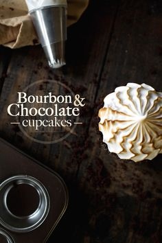 Bourbon Cream Filled Chocolate Cupcakes with Italian Meringue Frosting