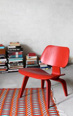 Sydney Home | Red Eames Lcw Chair | Midcentury Modern - currently available at http://www.modern-source.com/products/eames-plywood-chair