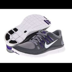 Nike Free 5.0 Running Shoes Color: Stealth/Dark Grey/Electro Purple/Metallic Platinum  Size: 7.5 Brand: Nike Condition: Worn Twice  CHEAPER ON Ⓜ️ Nike Shoes Athletic Shoes