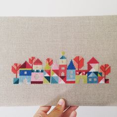 Pretty little village modern cross stitch by LittleSweetnesses Cross Stitch House, Cross Stitch Tree, Cross Stitch Borders, Modern Cross Stitch Patterns, Cross Stitching, Wool Embroidery, Modern Embroidery, Cross Stitch Embroidery, Embroidery Patterns