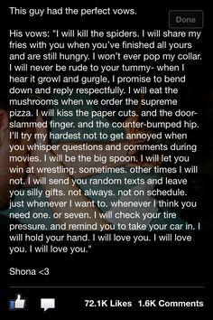 vows- a dudes version...so charming!