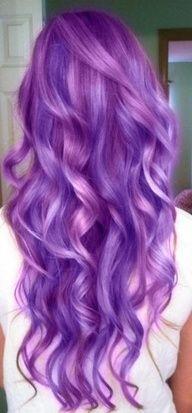 purple long curled hair cute ^.^  #puple#longhair#curled