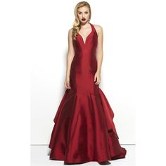 Mac Duggal 48436R Prom Mermaid Dress Long V-Neck Sleeveless ($698) ❤ liked on Polyvore featuring dresses, gowns, formal dresses, red, long red evening dress, red formal dresses, red mermaid gown, prom dresses and red formal gown
