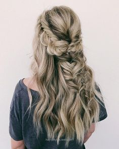 Splendid Fishtail half up half down hairstyle,wedding hairstyles,boho wedding hairstyles ,Gorgeous Braided Hairstyle For Long Hair,Messy braided half up half down boho hairstyle #bohohairstyle #h ..