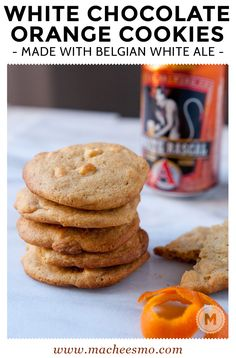 White Chocolate Orange Cookies - Packed with chocolate chips and orange zest and seasoned with a reduced white ale honey. Be sure to check out the secret spice that takes these cookies over the edge!