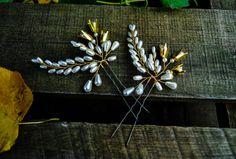 Golden Bells Bridal Hair Pins Pearl Bridal Hair Pins Rustic