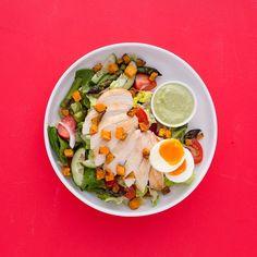 Chicken and cherry tomato salad with basil tofu dressing and roast kumara croutons