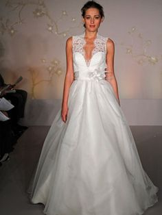 etherial wedding dress | Ethereal Deep V-Neck Satin Organza Wedding Dress : AA-9154 : $220.85