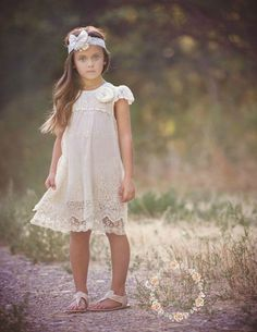 Ivory lace dress Baptism girlrustic flower girl dress  girls