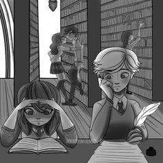 (Hogwarts!Miraculous: Tales of Ladybug and Cat Noir) Marinette/Adrien and Alya/Nino
