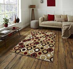 Moderner Teppich 100 Wolle Wohnzimmer Schlafzimmer Fusion Beige A100598