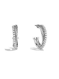 David Yurman - Crossover Small Hoop Earrings with Diamonds