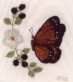 StumpWork flowers and butterfly