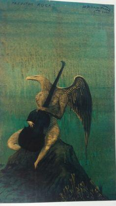 Bill Hammond,Predator Rock, Acrylic on canvas, 600 x 1000 mm. New Zealand Art, Visit New Zealand, Fireplace Art, Bird People, Nz Art, Contemporary Paintings, Abstract Paintings, Painting Techniques, Amazing Art