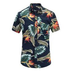Beautyfine Mens Hawaii Henry Collar Shirt Top Vintage Stitching Print Cotton Linen Ethnic Casual Short Sleeve Blouse