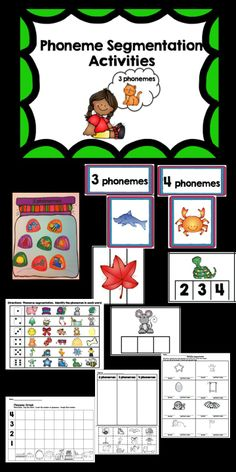Variety of hands on activities to teach phoneme segmentation for words with 2, 3, and 4 phonemes. Includes Whole group phoneme sort 32 colorful Elkonin boxes clip the number of phonemes phoneme cards student phoneme sort roll and identify printables Perfect resource for centers or small group students who need intervention based on aimsweb data.