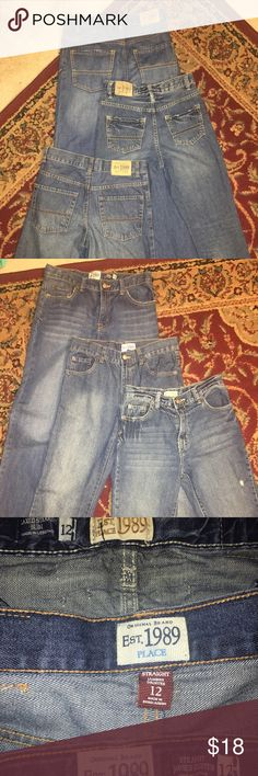 Bundle - 3 pair of Boys Children's Place Jeans New w/out Tags - 3 pair of Boys Children's Place Jeans - 2 pair Straight Leg and 1 pair Relaxed Straight Slim. All size 12 - New Condition. Children's Place Bottoms Jeans