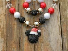 Christmas Santa Bling Rhinestone Pendant Disney Classic Mickey Mouse Inspired Girls Chunky Necklace or Bracelet,Chunky Bead Necklace RTS by AlternativeScraps, $5.00