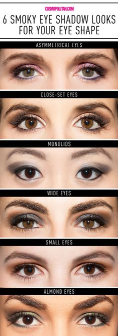 BEST SMOKY EYE MAKEUP FOR YOUR FACE SHAPE: Thanks to these tricks from makeup pro Colleen O'Neill, you'll not only apply your smoky eye in seconds, you'll find a look that's perfect for your eye shape. Here are the smoky eye makeup looks O'Neill created for six different eye shapes including asmmetrical eyes, close-set eyes, almond eyes, monolids, wide eyes, and small eyes. Find all the sexy and stunning smoky eye looks here!