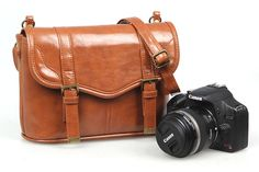 New Vintage PU Leather Waterproof DSLR Camera Shoulder Bags For Sony Canon Nikon #Koolertron