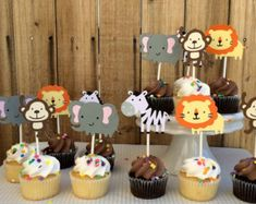 Items similar to Girl Jungle Animal Cupcake Toppers One Dozen on Etsy Safari Theme Birthday, Baby Boy 1st Birthday Party, 1st Boy Birthday, Animal Birthday, Safari Cupcakes, Zoo Animal Cupcakes, Safari Party, Jungle Party, Handgemachtes Baby