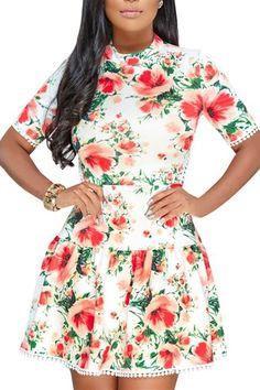 White Multicolor Floral Lace-up Back Short Skater Dresses Short Skater Dress, Skater Dresses, Floral Dresses, Floral Lace, Lace Up, Mini Dress With Sleeves, Short Sleeves, Dresses For Sale, Dresses Online
