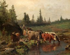 Askevold Anders Landscape With Cows At The River Canvas 16 x 20  #60 #Art #Sale