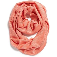 Tory Burch 'Stacked T' Jacquard Infinity Scarf ($97) ❤ liked on Polyvore featuring accessories, scarves, coral, circle scarf, infinity scarves, tube scarf, tory burch and round scarf