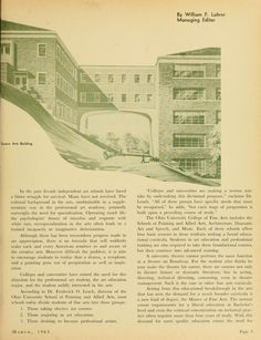 "The Ohio Alumnus, March 1963. ""The Changing Role of Art in Education."" Liberal arts universities like Ohio University began to take on educating students in the arts. Illustration sows the Space Arts Building (Seigfred Hall). :: Ohio University Archives"