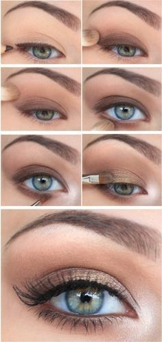 Peach, pale gold, beige, and light brown create beautiful eye shadow designs on Light Spring. Black eyeliner optional.