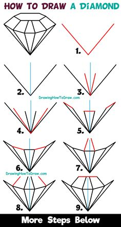 How to Draw a Diamond Easy Step by Step Drawing Tutorial for Kids & Beginners diamond drawing - Drawing Tips Pencil Drawings For Beginners, Drawing Tutorials For Beginners, Easy Drawings For Kids, Pencil Art Drawings, Doodle Drawings, Drawing For Kids, Drawing Drawing, Drawing Tips, Art Sketches