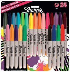 Sharpie Fine Permanent Marker Assorted Colours - Pack of 24 Sharpie . Because I have a crazy wierd obsession with sharpie pens. Marker Pen, Permanent Marker, Sharpie Pack, Sharpie Colors, Sharpies, Sharpie Markers, Just Girly Things, Paint Pens, School Supplies