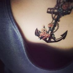 amazing-pink-flowers-and-anchor-tattoo-on-chest-13931714834kn8g.jpg (612×612)