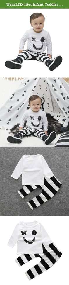 """WensLTD 1Set Infant Toddler Boy Girl Smile Printed T-shirt Tops+Pants Outfits Clothes (90). Material:Cotton Blend Style:Occident Pattern Type:Printed Clothing Length:Regular Sleeve Length:Long Sleeve Gender:Boys,Girls Collar:O-neck Package include:1PC Tops+1PC Pants Size:9M Label Size:70 Bust:52cm/20.5"""" Sleeve:24cm/9.4"""" Length:34cm/13.3"""" Height:80CM Size:12M Label Size:80 Bust:56cm/22.1"""" Sleeve:26cm/10.2"""" Length:36cm/14.1"""" Height:85CM Size:24M Label Size:90 Bust:60cm/23.7"""" Sleeve:28cm/11""""..."""