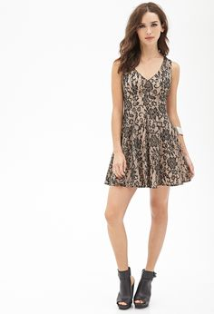 Metallic lace fit&flare dress