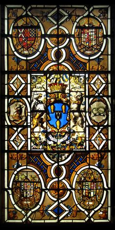 Large armorial window in the Despencer chapel at Mereworth Castle, with the achievement of John Fane, Earl of Westmoreland and arms of his forbears.