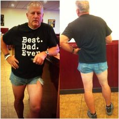 """My mom told me to change my ""slutty"" shorts before we went to dinner. I said no. So my dad cut his jeans to fit in. We went to dinner and then mini golf like this."""