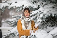 beautiful girl over snowy Christmas background royalty-free stock photo