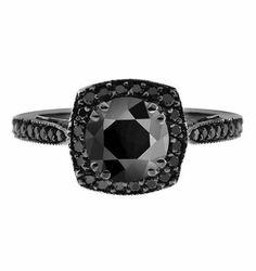 Unique Fancy Black Diamond Engagement Ring 14K Black Gold Vintage Style Halo Pave Handmade