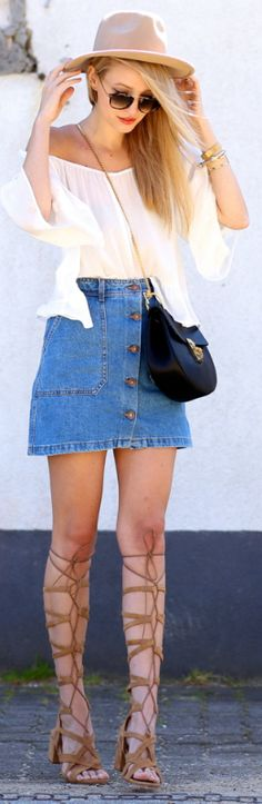 Look fabulous in knee-high lace up shoes, a denim skirt and a white off the shoulder tee, just like Leonie Sophie Bag: Chloé, Skirt: Zara, Top: Zara, Sunnies: Bob Sdrunk, Shoes: Uterque, Hat: Asos