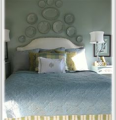headboard & plates over bed