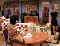 Monica's apartment on Friends with Rachel. The doors to Monica's bedroom and guest room were fake entries. The Central Perk set was on the other side of that wall. The bedrooms were only put together when needed for a scene.