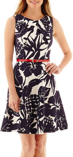 Alyx Sleeveless Belted Fit-and-Flare Dress - Petite