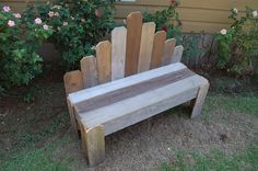 Rustic Wooden Bench....I'm going to recreate this in a mini version using popsicle sticks :)  Would be great for a child's doll house as well.
