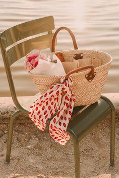 Parisian market basket with peonies and bread Leather Bag, Brown Leather, Paris Markets, Paris Summer, Market Baskets, Jet Set, Parisian, Lust, Straw Bag